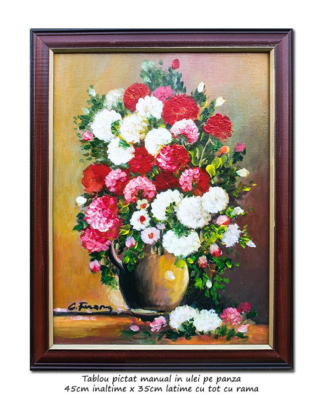 Parfum floral (5) - 45x35cm cu rama, ulei pe panza, Superb!