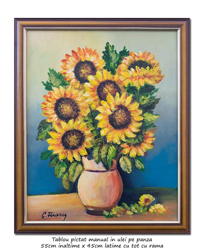 Ulcica cu floarea soarelui - inramat 55x45cm ulei pe panza, Magistral!