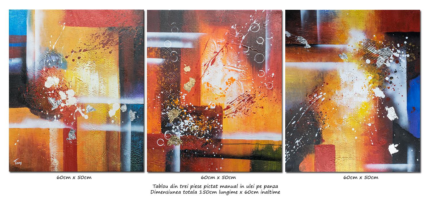 Trio abstract nr.2 - tablou 3 piese ulei pe panza 150x60cm, modern