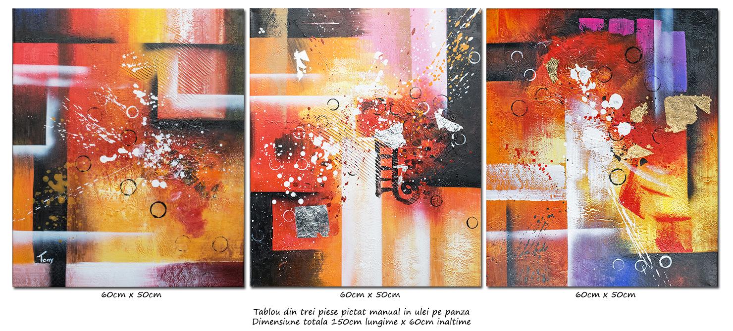 Trio abstract nr.3 - tablou 3 piese ulei pe panza 150x60cm, modern