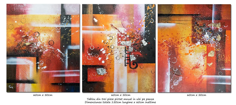 Trio abstract nr.4 - tablou 3 piese ulei pe panza 150x60cm, Superb!