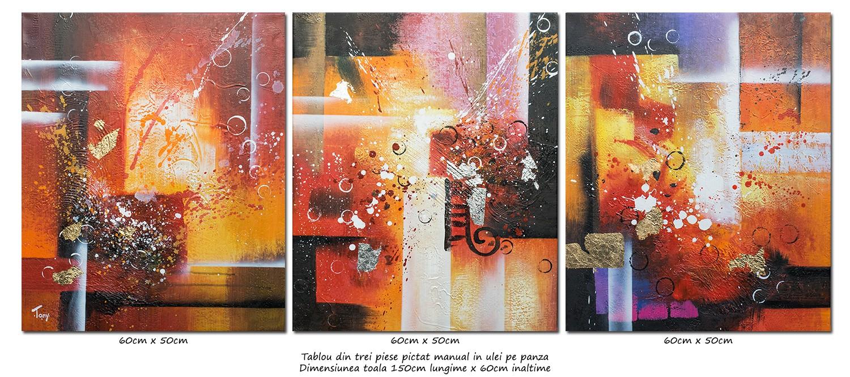 Trio abstract nr.7 - tablou 3 piese a cate 60x50cm, modern