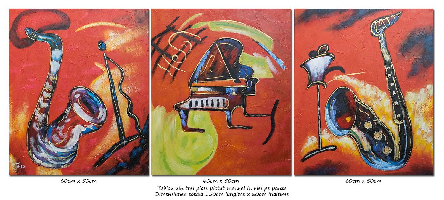 JAZZ, saxo and piano - tablou 3 piese ulei pe panza 150x60cm, Spectaculos!