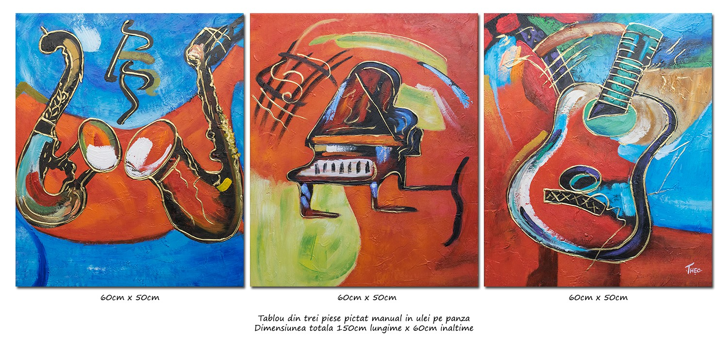 Tablou 3 piese - Music and dance (1) - ulei pe panza 150x60cm, Spectaculos!