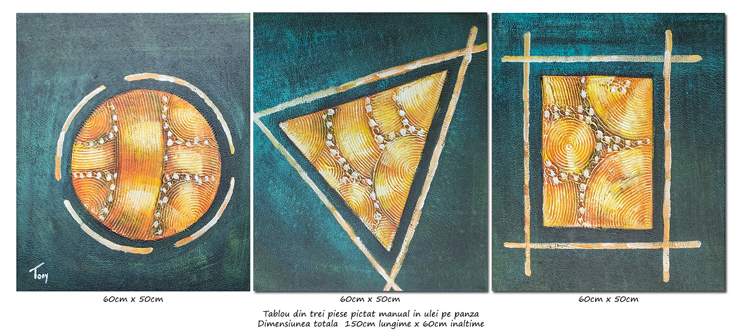 Forme geometrice (2) - tablou triptic abstract - 3 piese - 150x60cm