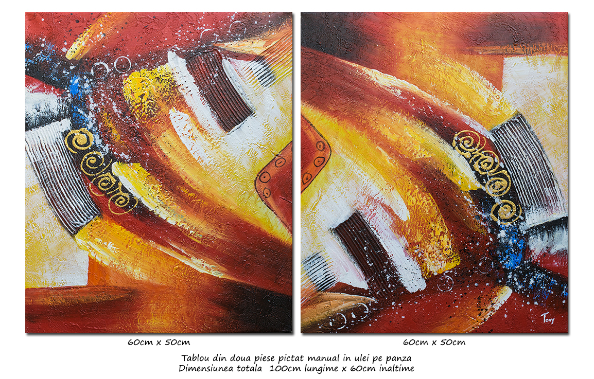 Calatorie in spatiu - tablou abstract 2 piese a cate 60x50cm, Spectaculos!