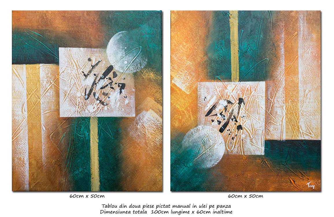Lumi paralele (2) - tablou abstract 2 piese a cate 60x50cm, Spectaculos!
