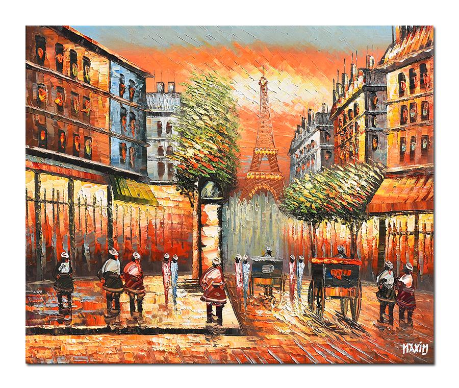 Paris - scena stradala (2), stilizat - 60x50cm ulei pe panza in cutit efect 3D, Superb!