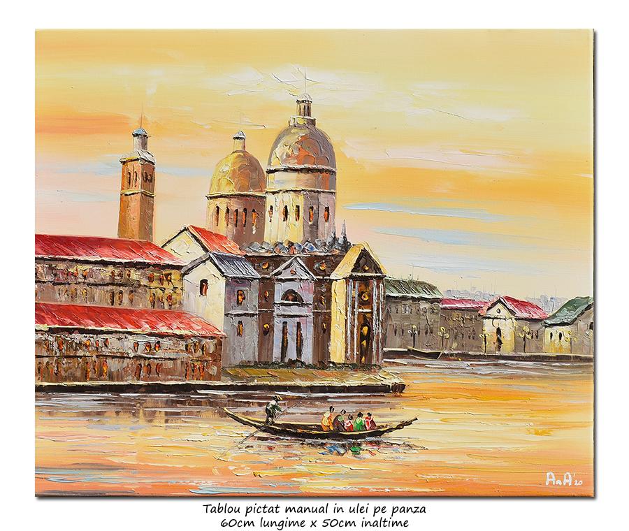 Peisaj venetian (1), stilizat - 60x50cm ulei pe panza in cutit efect 3D, Superb!
