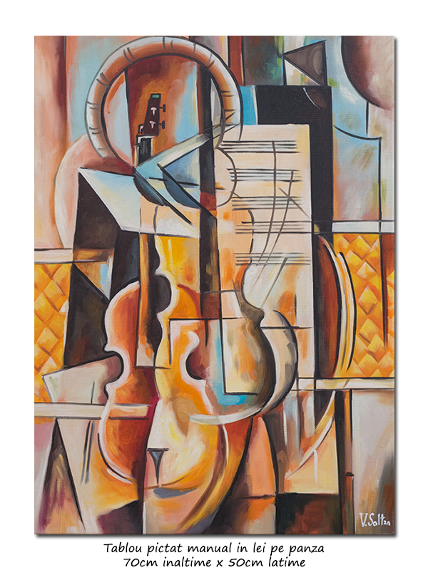Concert pentru vioara - 70x50cm pictura cubista, ulei pe panza, Magistral!