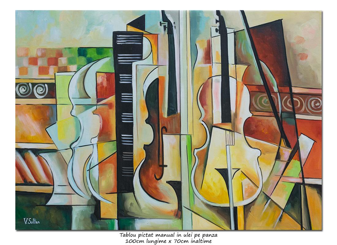 Tablou birou, living - Cvartet - 100x70cm cubism sintetic ulei pe panza, Magistral!