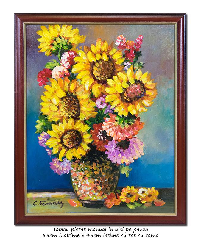 Aranjament cu floarea soarelui - 55x45cm cu rama, ulei pe panza, Superb!