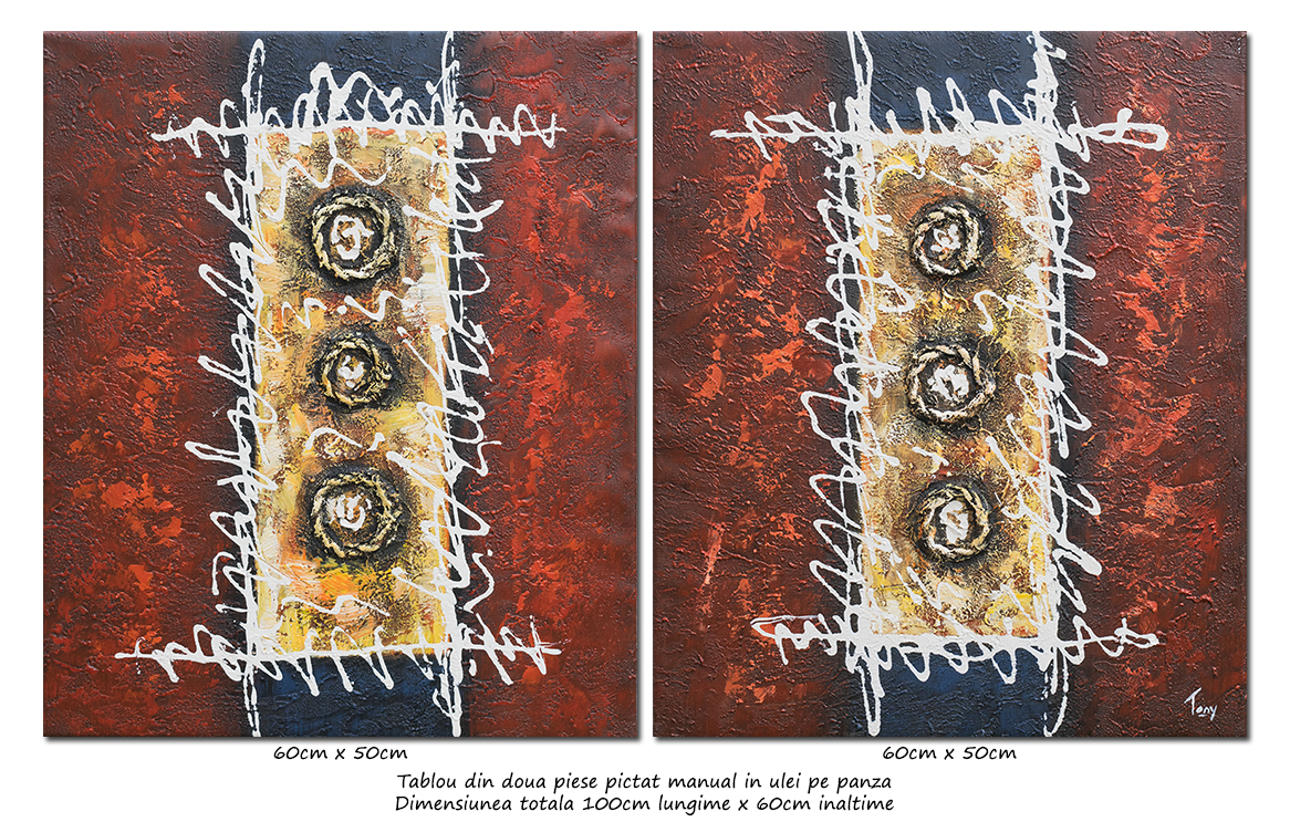 Deco abstract (1) - pictura 2 piese a cate 60x50cm, ulei pe panza, Spectaculos!