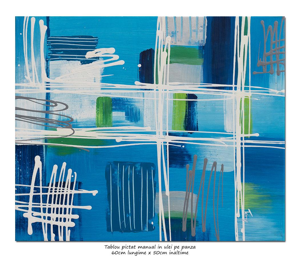 Abstract in albastru (2) - 60x50cm ulei pe panza, modern!