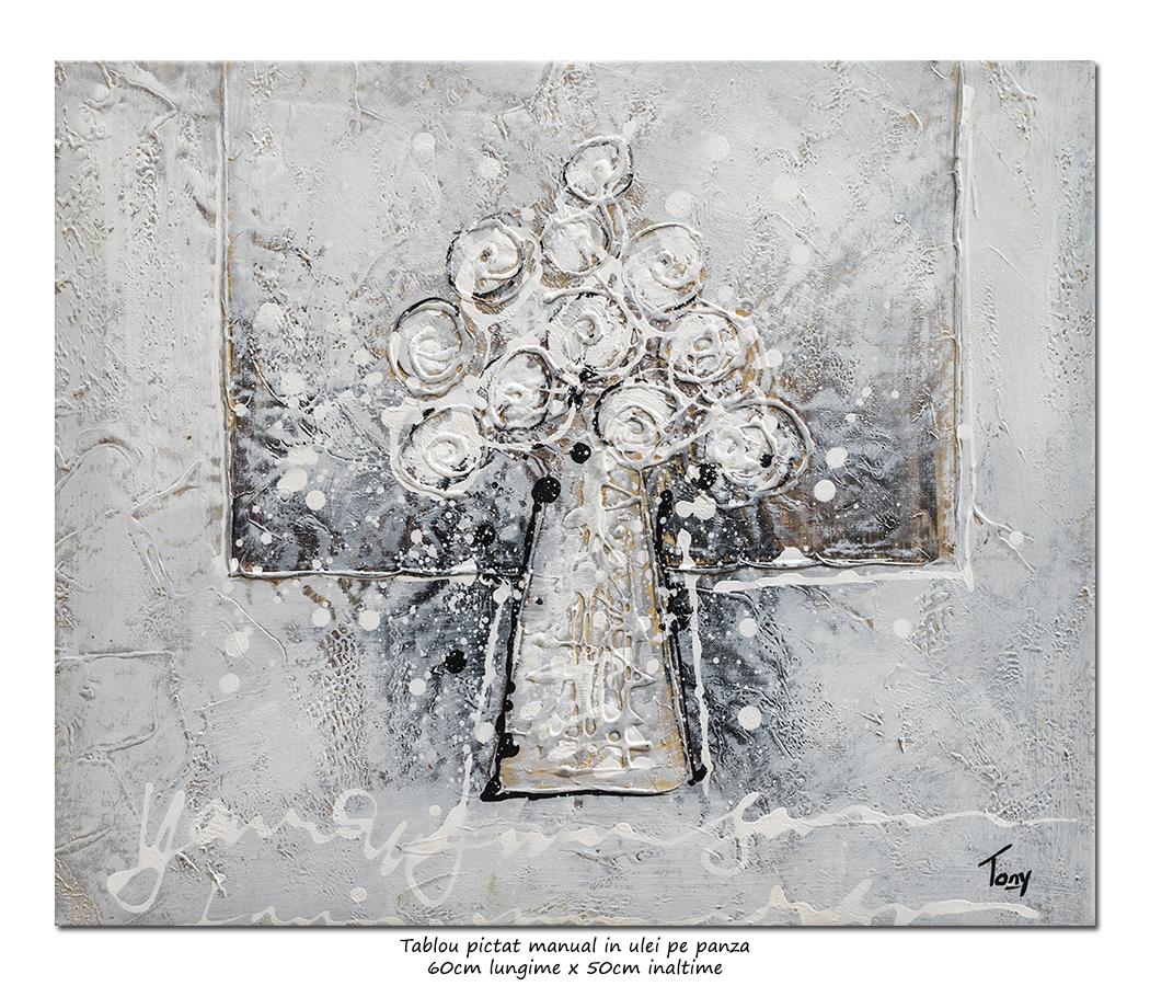 Trandafiri stilizati (1) - 60x50cm ulei pe panza efect 3D, Superb!