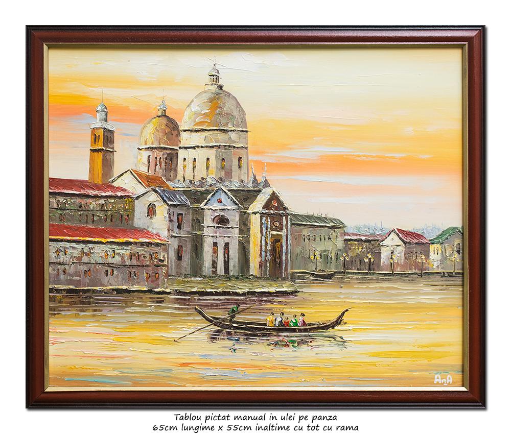 Gondola la Venetia, stilizat - 65x55cm cu ramat, ulei pe panza in cutit efect 3D, Superb!