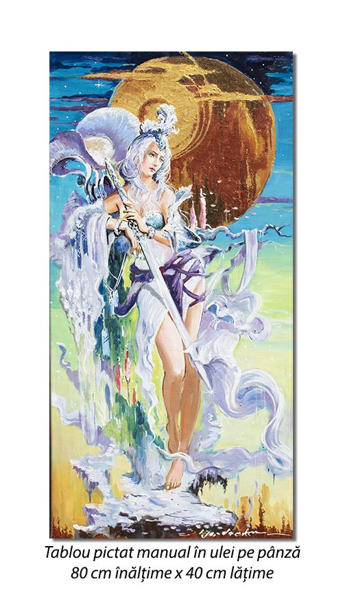 Amazoana - pictura 80x40cm ulei pe panza, Magnific!
