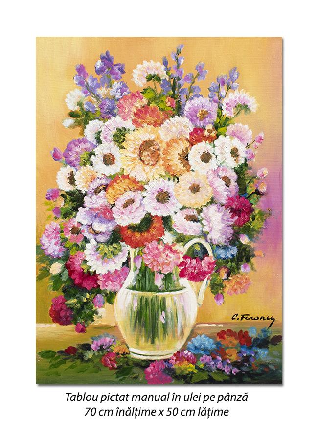 Carafa cu flori - pictura 70x50cm ulei pe panza, Magnific!