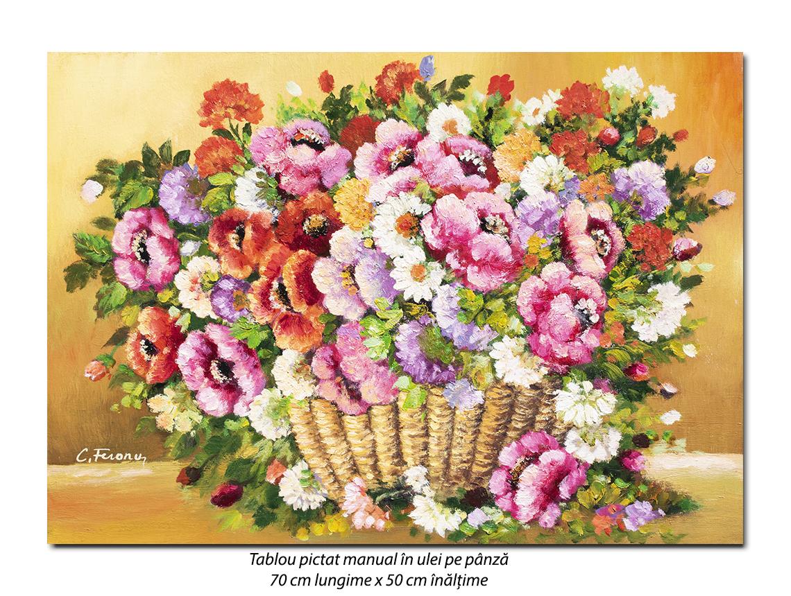Cos cu flori - pictura 70x50cm ulei pe panza, Magnific!