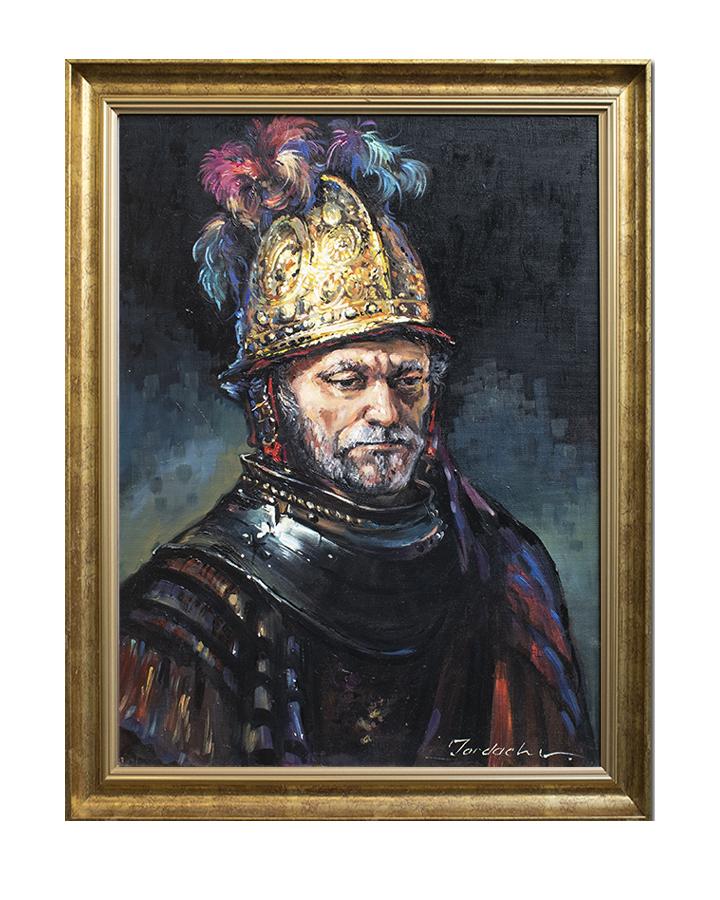 Barbat cu casca de aur - 80x60cm inramat ulei pe panza, reproducere Rembrandt