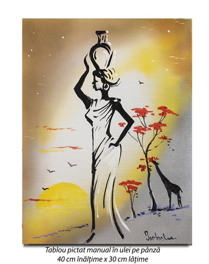 Silueta africana (1) - 40x30cm pictura ulei pe panza, Superb!