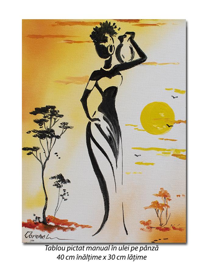 Silueta africana (2) - 40x30cm pictura ulei pe panza, Superb!