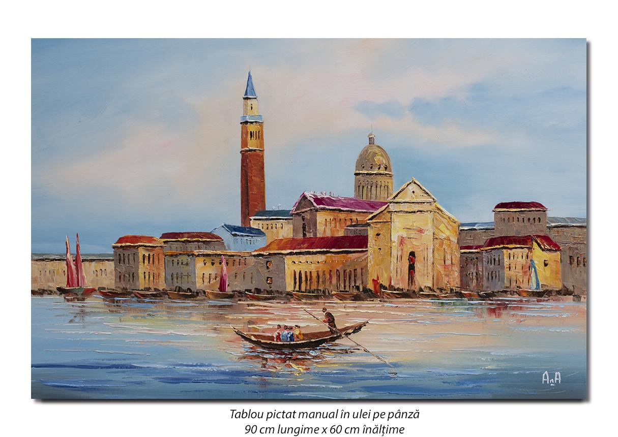 Gondola la Venetia (2) - 90x60cm ulei in cutit efect 3D, Superb!