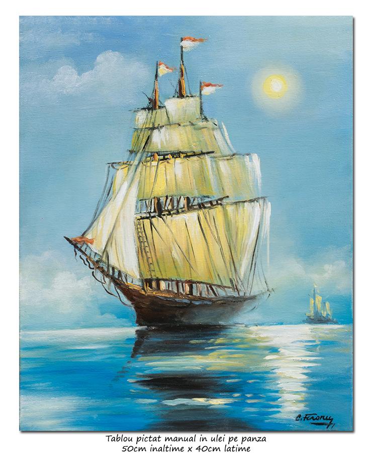 Navigand spre zari insorite - 50x40cm tablou ulei pe panza, Magistral!