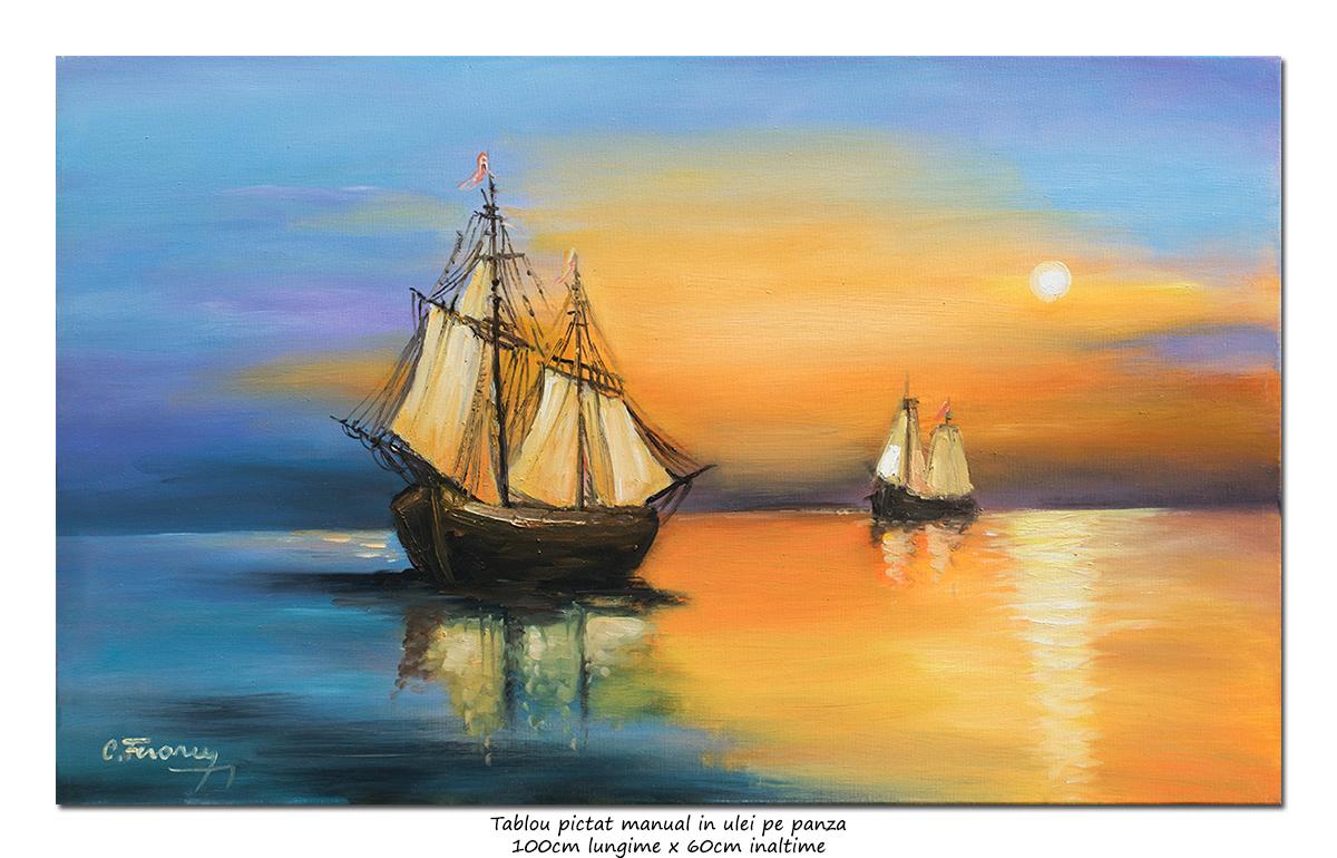 Apus de soare cu veliere - 100x60cm pictat manual in ulei pe panza, Spectaculos!