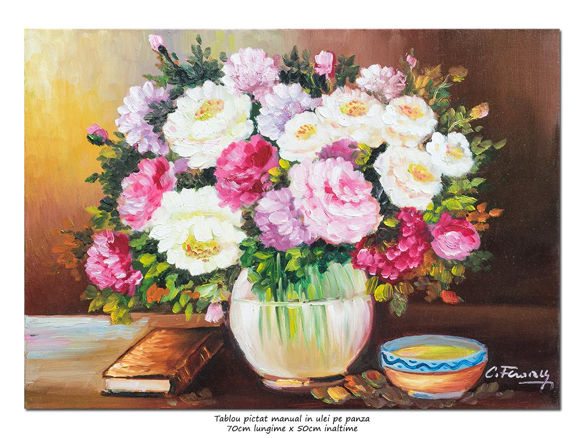 Parfum de trandafiri - 70x50cm pictura ulei pe panza, Magistral