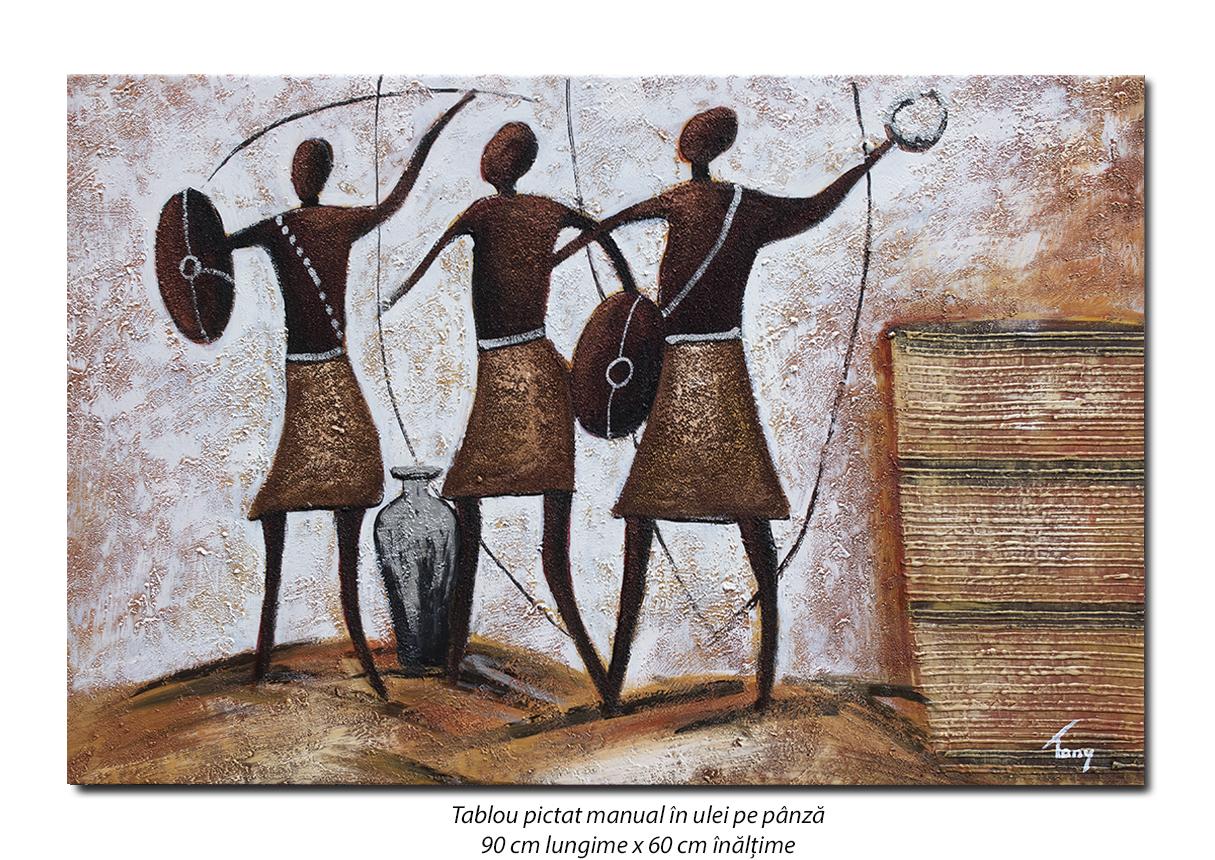 Luptatori aborigeni - tablou modern african 90x60cm, ulei pe panza in relief, Spectaculos!