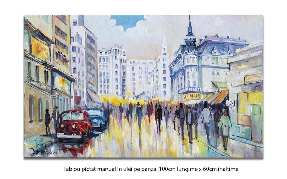 Bucurestiul interbelic - Strada Ion Campineanu - 100x60cm pictura ulei pe panza, Magistral!