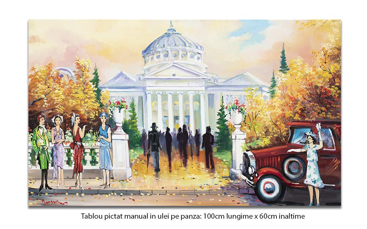 Bucurestiul interbelic - La Ateneu - 100x60cm pictura ulei pe panza, Magistral!