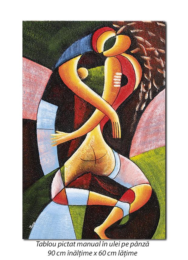 Sarut (1) - 90x60cm tablou modern cubist, ulei pe panza, Superb!