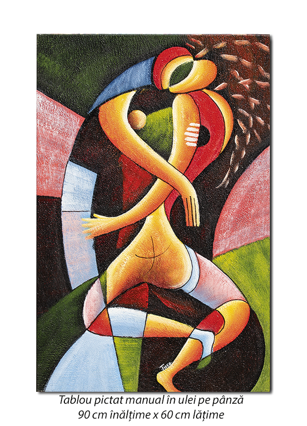 Sarut (2) - 90x60cm tablou modern cubist, ulei pe panza, Superb!