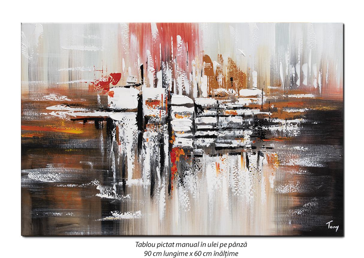 Fantezie  - 90x60cm pictura abstracta ulei pe panza, Magnific!