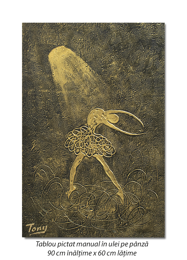 Balerina stilizata (2) - 90x60cm tablou modern ulei pe panza in relief, efect 3D, Spectaculos!