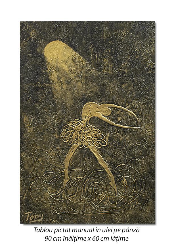Balerina stilizata (3) - 90x60cm tablou modern ulei pe panza in relief, efect 3D, Spectaculos!