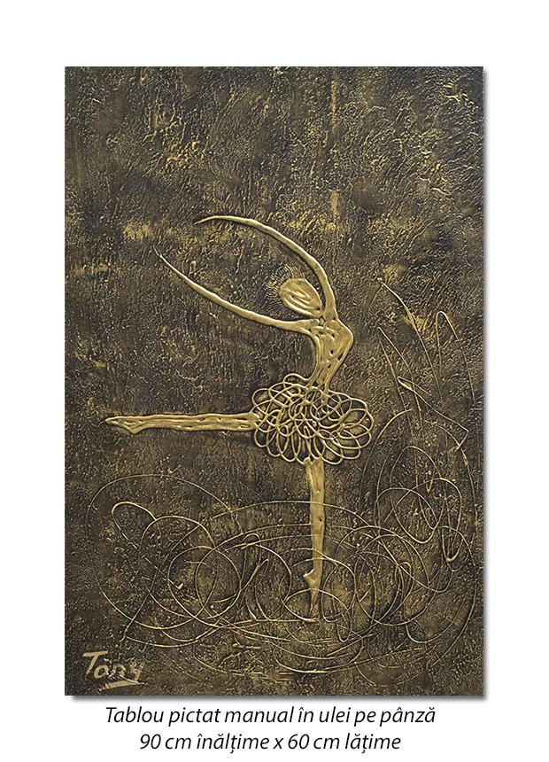Balerina stilizata (4) - 90x60cm tablou modern ulei pe panza in relief, efect 3D, Spectaculos!