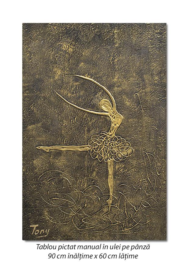 Balerina stilizata (6) - 90x60cm tablou modern ulei pe panza in relief, efect 3D, Spectaculos!