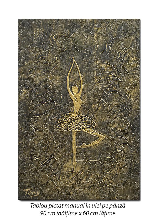 Balerina stilizata (7) - 90x60cm tablou modern ulei pe panza in relief, efect 3D, Spectaculos!