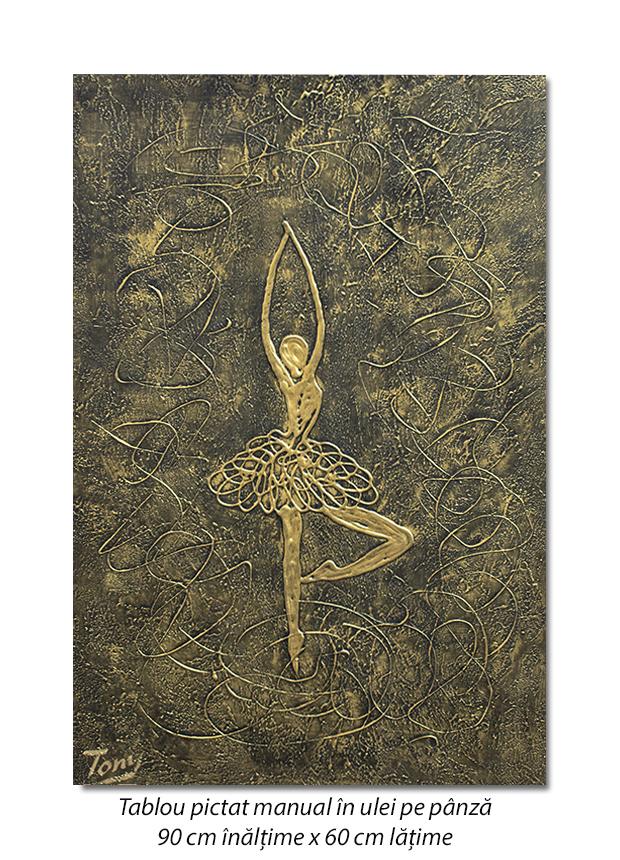Balerina stilizata (9) - 90x60cm tablou modern ulei pe panza in relief, efect 3D, Spectaculos!