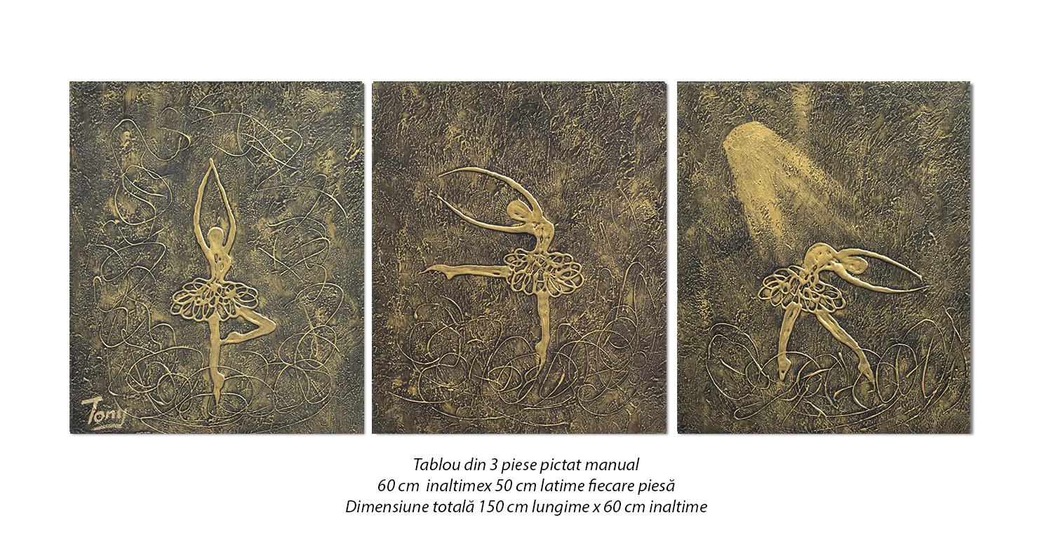 Gratie, balerine stilizate - tablou set 3 piese 150x60cm - efect 3D, Spectaculos!