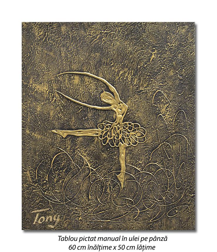Gratie, tablou balerina (2) - 60x50cm ulei pe panza in relief, efect 3D, Spectaculos!
