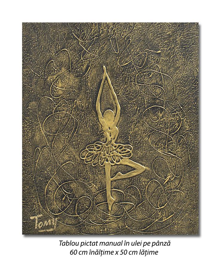 Gratie, tablou balerina (6) - 60x50cm ulei pe panza in relief, efect 3D, Spectaculos!