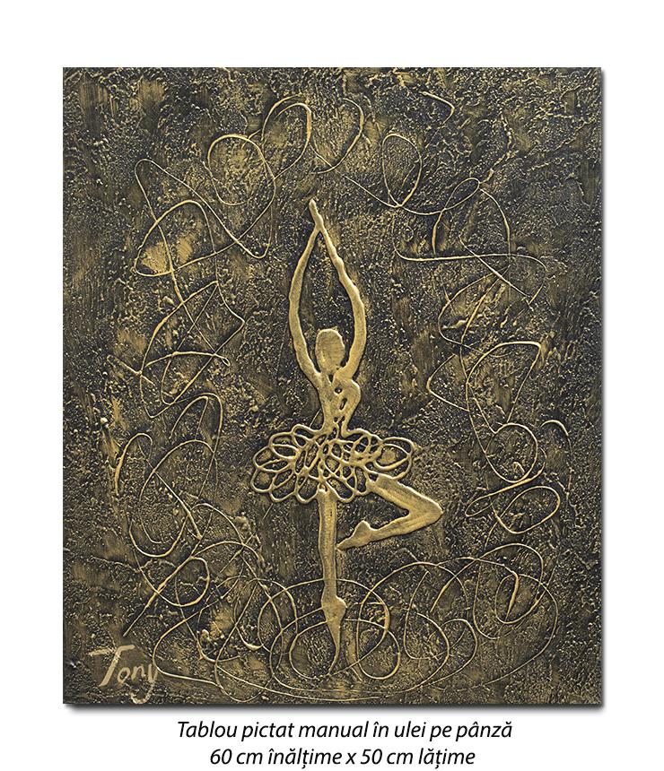 Gratie, tablou balerina - 60x50cm ulei pe panza in relief, efect 3D, Spectaculos!