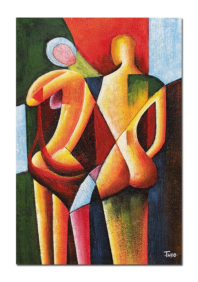 Dualitate - 90x60cm tablou modern cubist, ulei pe panza, Superb!