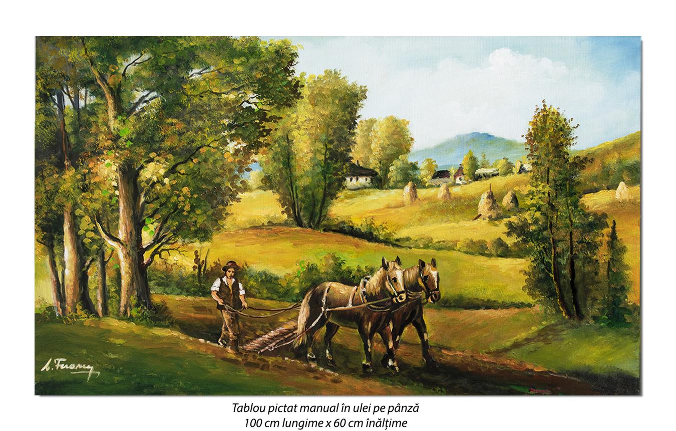 La arat - 100x60cm pictura peisaj ulei pe panza, Superb!