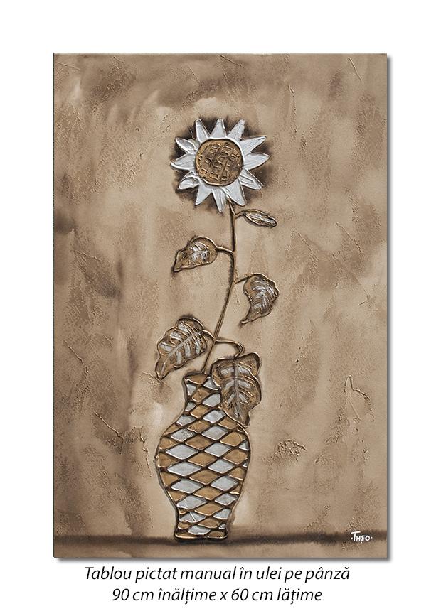 Floarea soarelui stilizata - 90x60cm ulei in relief efect 3D, Superb!