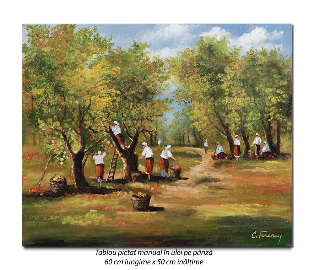 Culesul merelor - 60x50cm tablou ulei pe panza, Magistral!